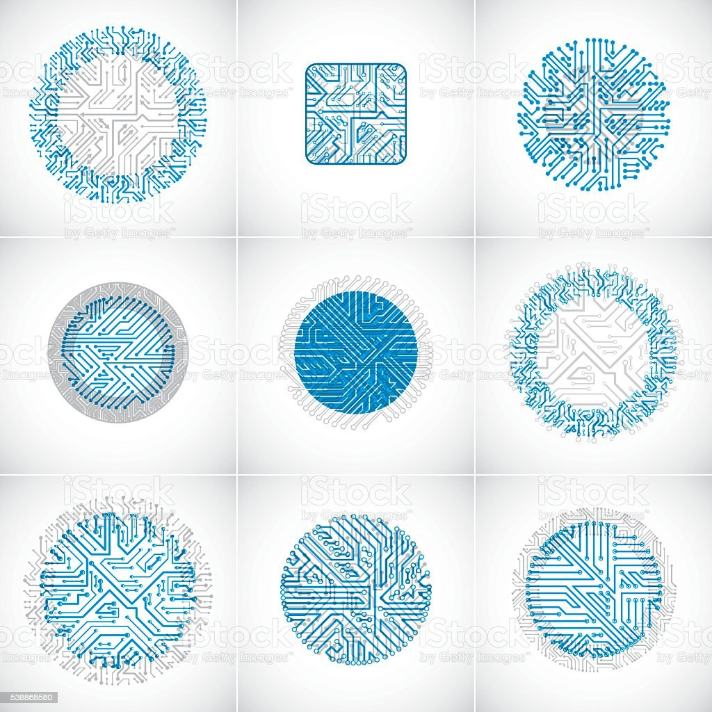 Collection of vector microchip designs, cpu. Information technology vector art illustration