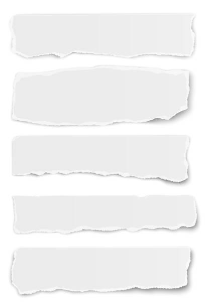 在白色背景下分離的向量長圓形撕紙淚的收集 - 報紙頭條 幅插畫檔、美工圖案、卡通及圖標