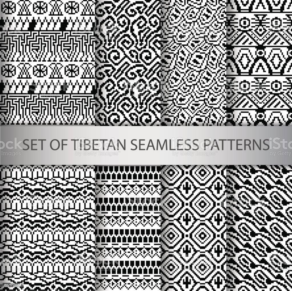 Collection of vector pixel seamless patterns with Tibet ethnic ornament vector art illustration