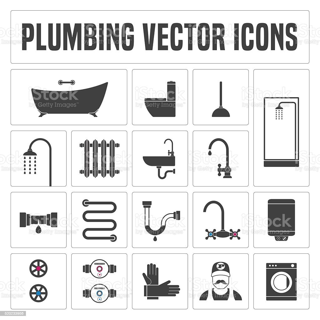 Collection Of Vector Plumbing Symbols And Icons Stock Vector Art