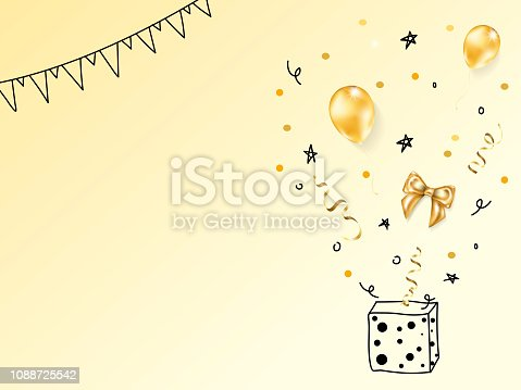 1035636416 istock photo Collection of vector realistic gold birthday party objects 1088725542