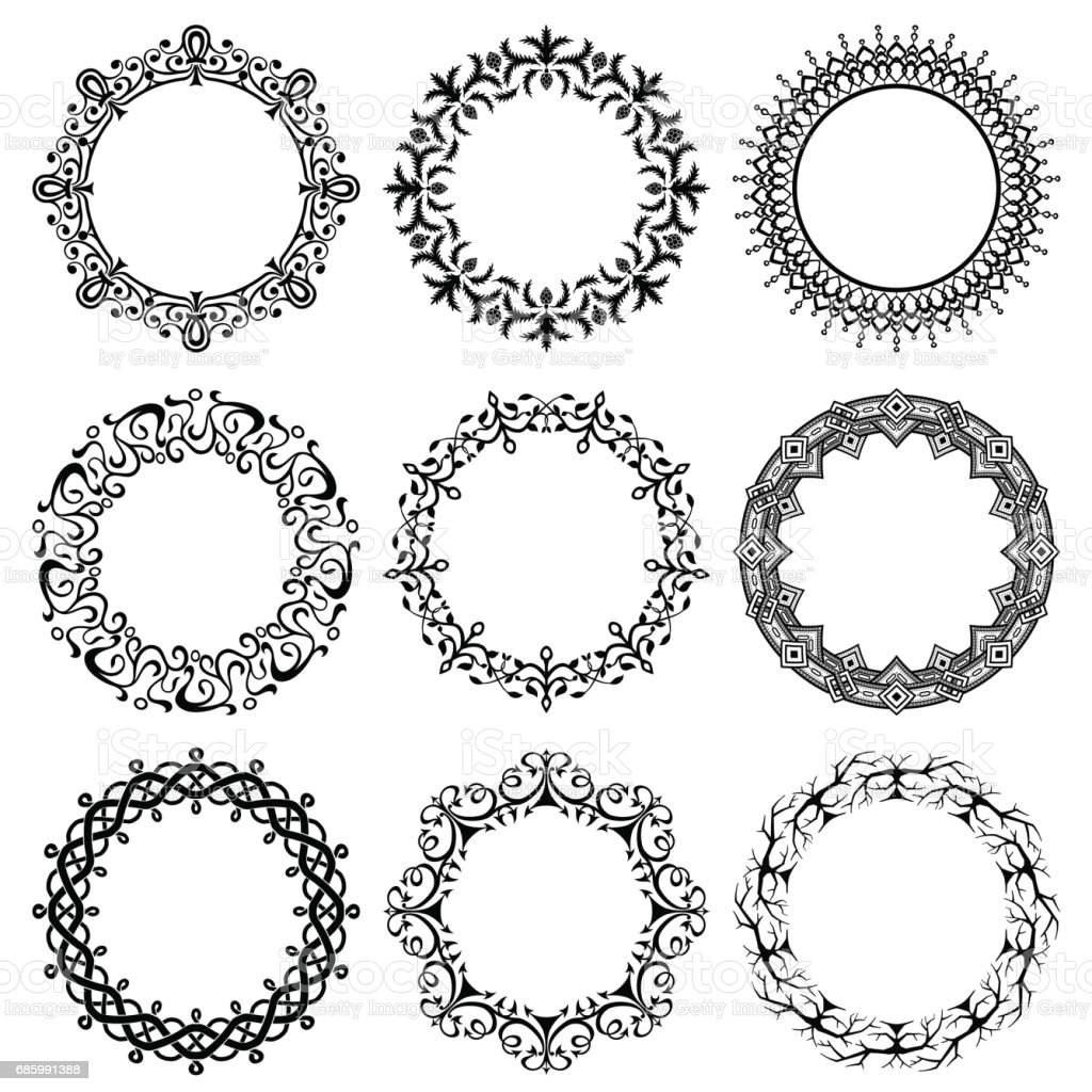 Collection of vector round vintage frames vector art illustration