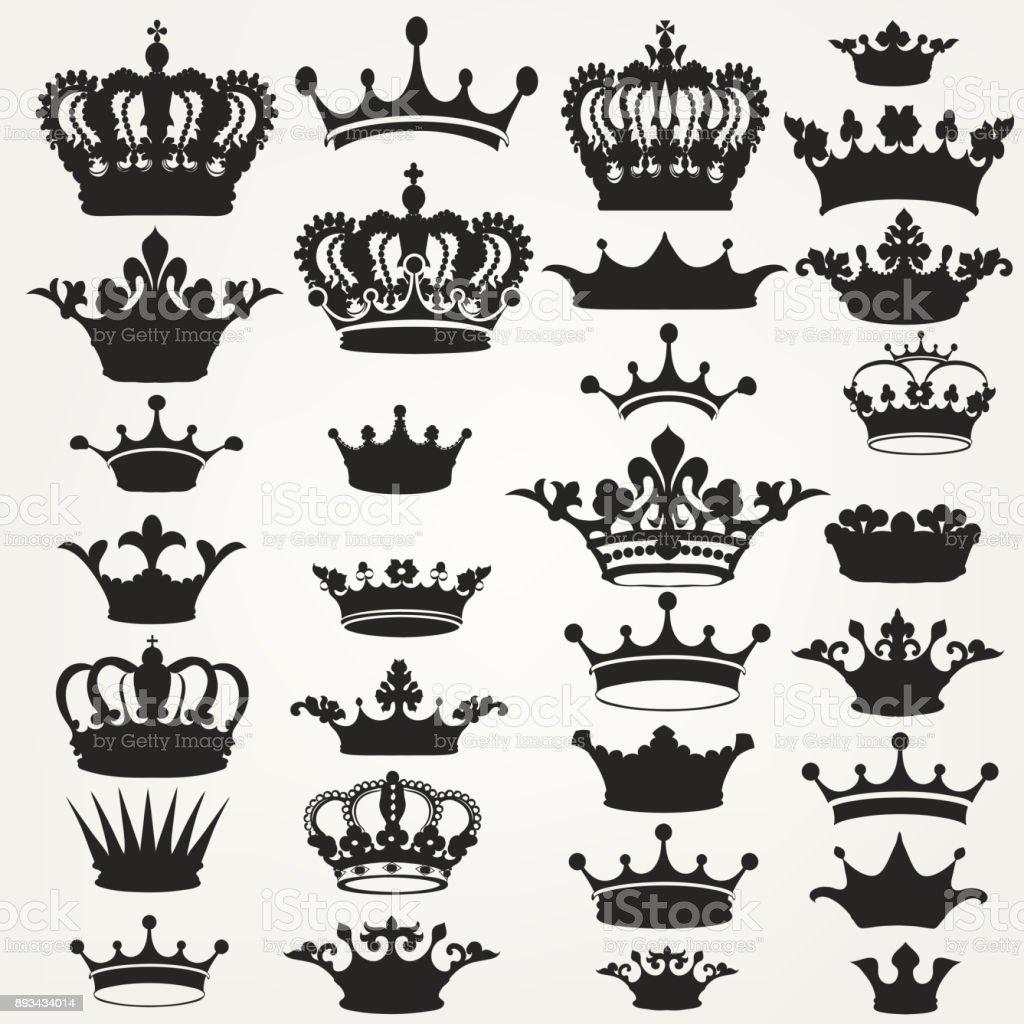 Collection de couronnes royal de vecteur pour la conception - clipart vectoriel de Aliments et boissons libre de droits