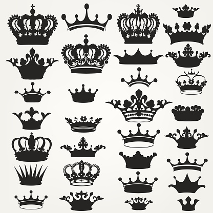 Collection of vector royal crowns for design