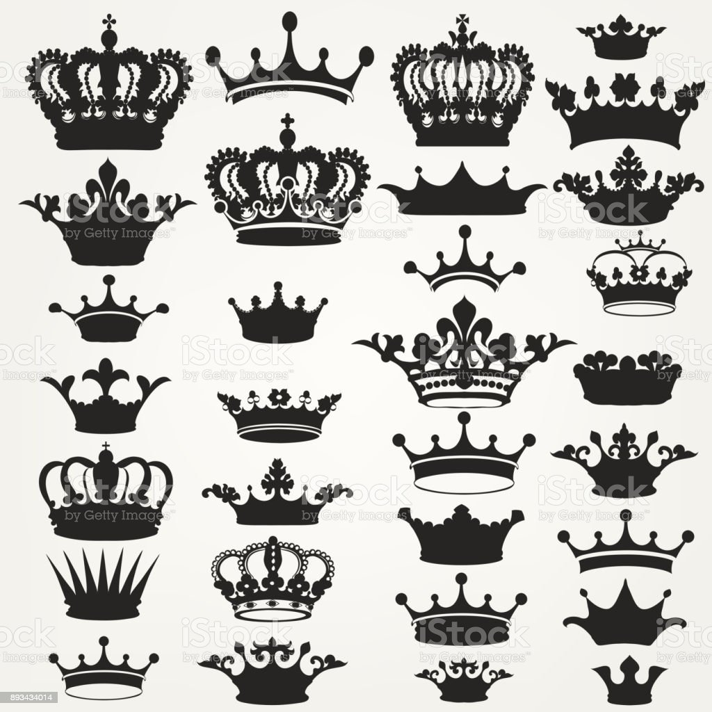 Collection of vector royal crowns for design vector art illustration