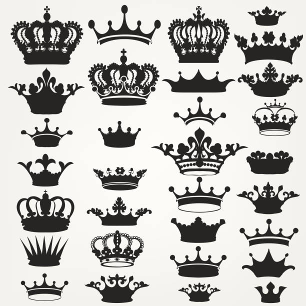 Collection of vector royal crowns for design Big collection of vector crown silhouettes in vintage style crown headwear stock illustrations