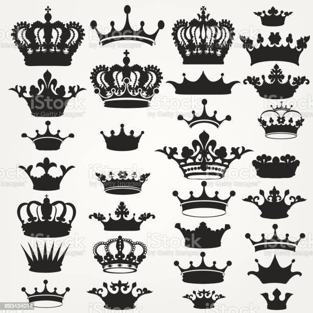 Big collection of vector crown silhouettes in vintage style