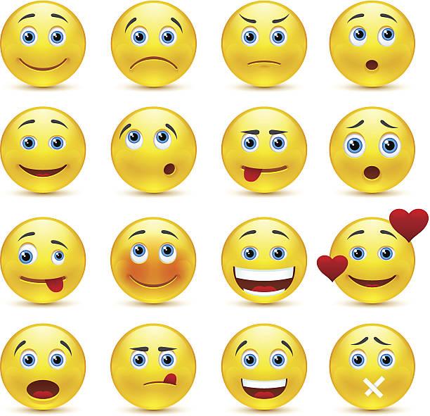 ilustraciones, imágenes clip art, dibujos animados e iconos de stock de colección de vector smilies con diferentes emociones - emoji asustado