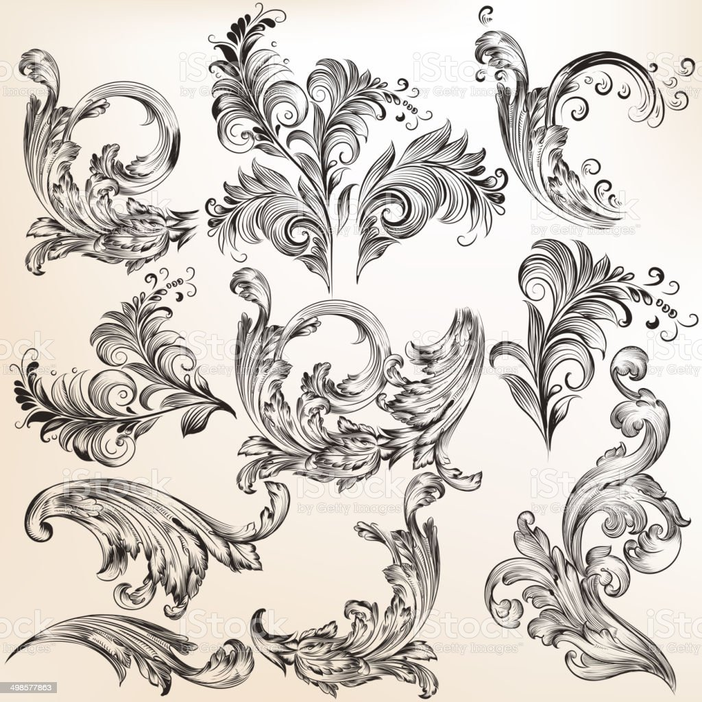 Collection of vector swirls royalty-free stock vector art
