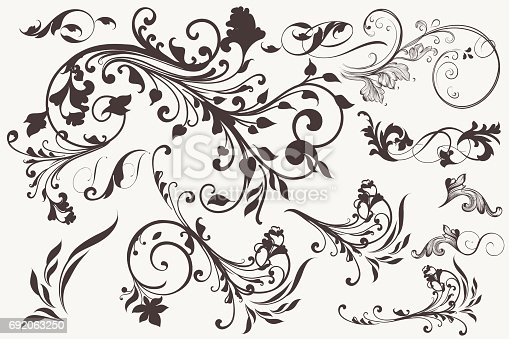 istock Collection of vector vintage flourishes for design 692063250