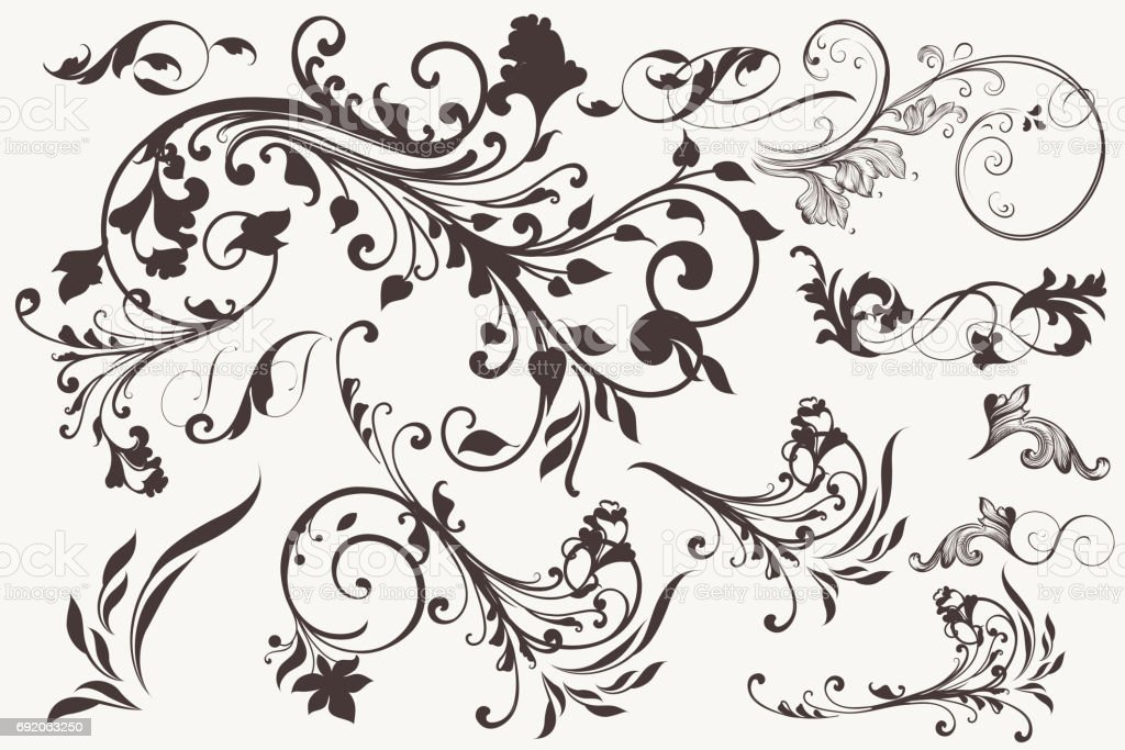 Collection of vector vintage flourishes for design vector art illustration