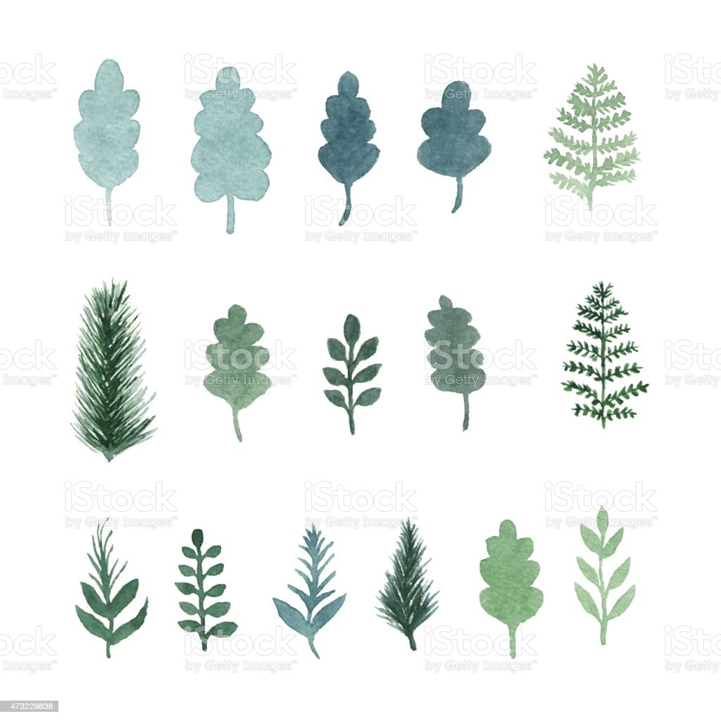 Collection of vector watercolor hand draw leaves and branches vector art illustration