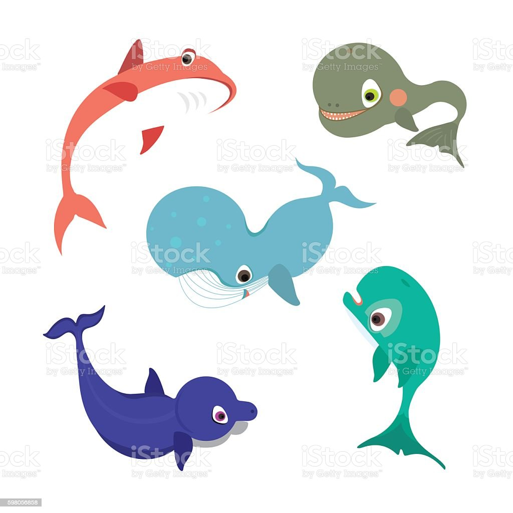 Collection of vector whale icons or illustrations vector art illustration