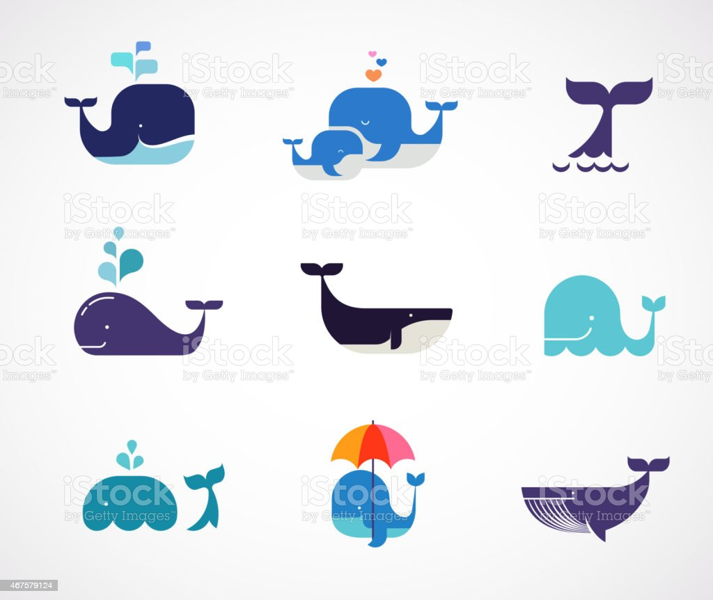 Collection of vector whale icons vector art illustration