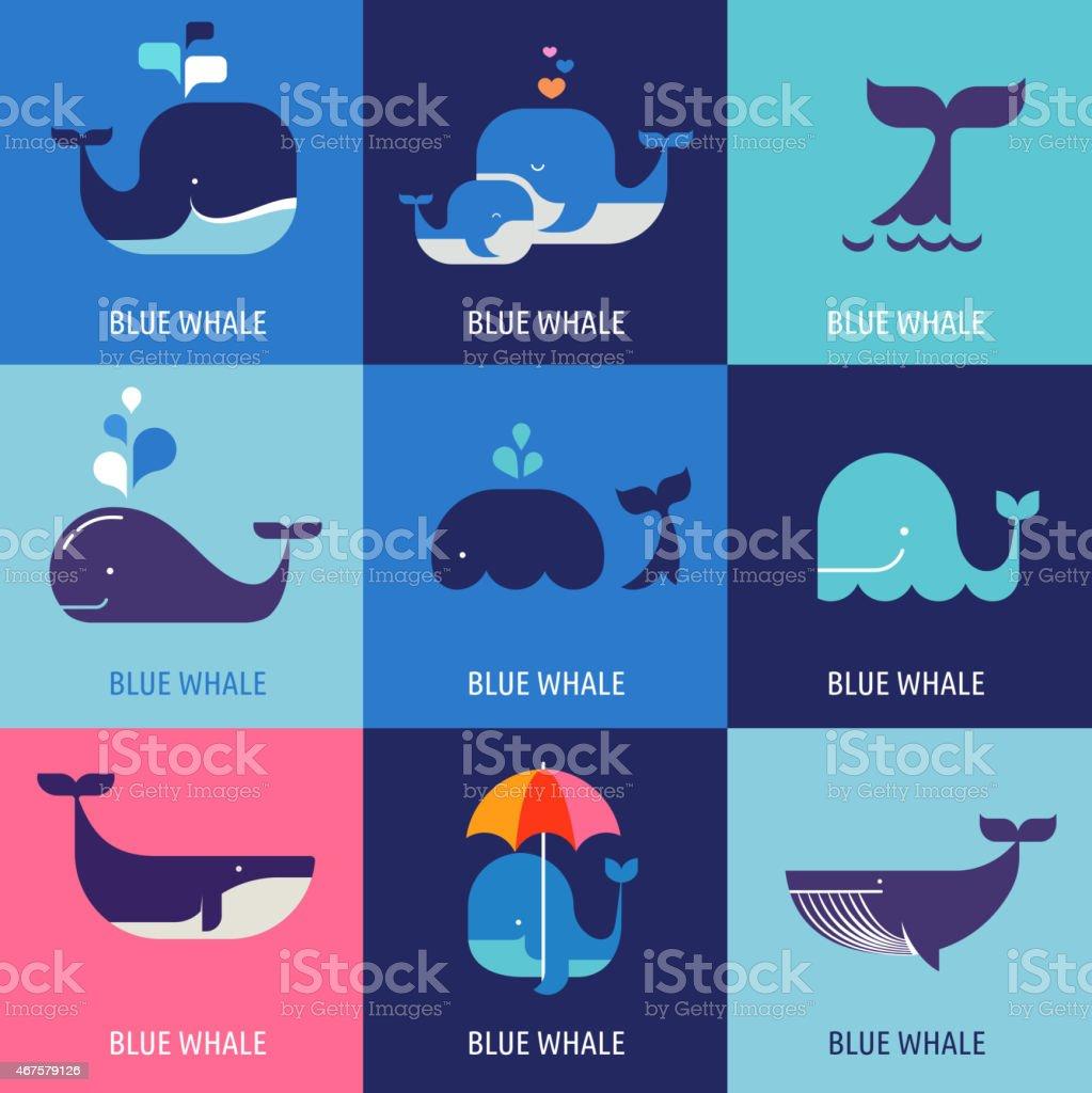 Collection d'icônes vectorielles de baleines - Illustration vectorielle