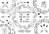 Collection of vector wreaths, laurels, arrows, hearts.