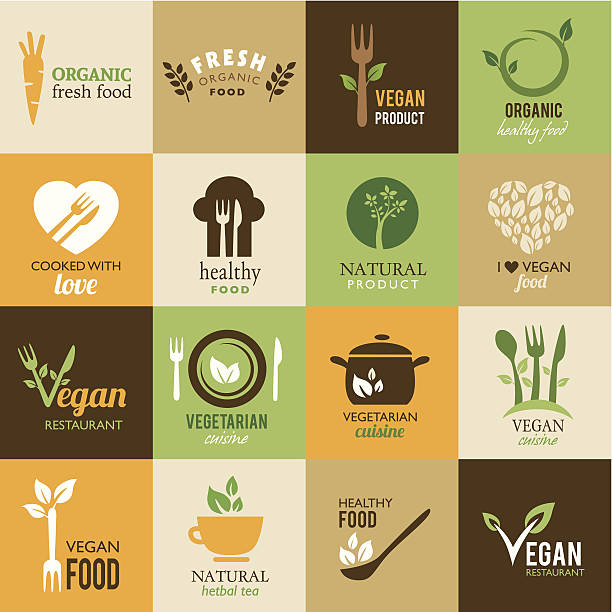 collection of vegetarian and organic icons - vegetarian stock illustrations, clip art, cartoons, & icons