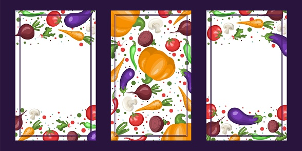 collection of vertical banners with vegetables.