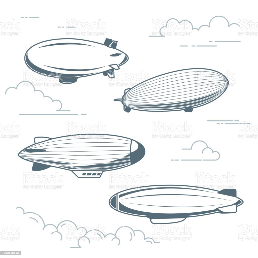 Collection of vintage airships - hot air balloons, blimps and dirigibles - Royalty-free Adventure stock vector
