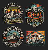 istock Collection of vintage explorer, wilderness, adventure, camping emblem graphics. Perfect for t-shirts, apparel and other merchandise 1248656919