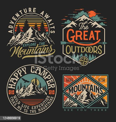Collection of vintage explorer, wilderness, adventure, camping emblem graphics. Perfect for t-shirts, apparel and other merchandise