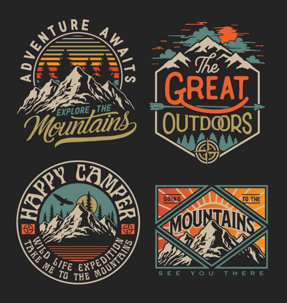 ilustrações, clipart, desenhos animados e ícones de coleção de exploradores vintage, deserto, aventura, camping emblema gráficos. perfeito para camisetas, vestuário e outras mercadorias - exterior