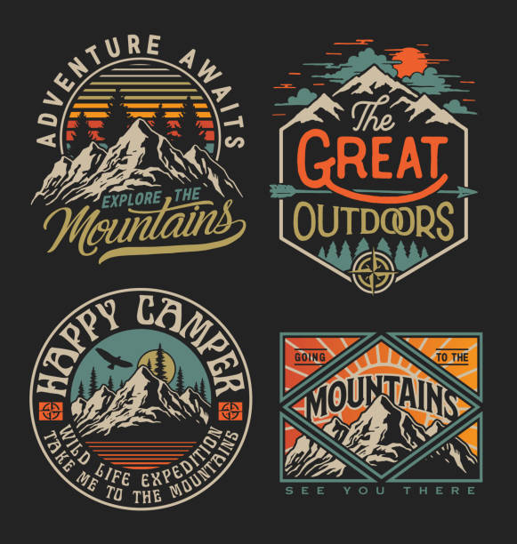 Collection of vintage explorer, wilderness, adventure, camping emblem graphics. Perfect for t-shirts, apparel and other merchandise Collection of vintage explorer, wilderness, adventure, camping emblem graphics. Perfect for t-shirts, apparel and other merchandise adventure stock illustrations