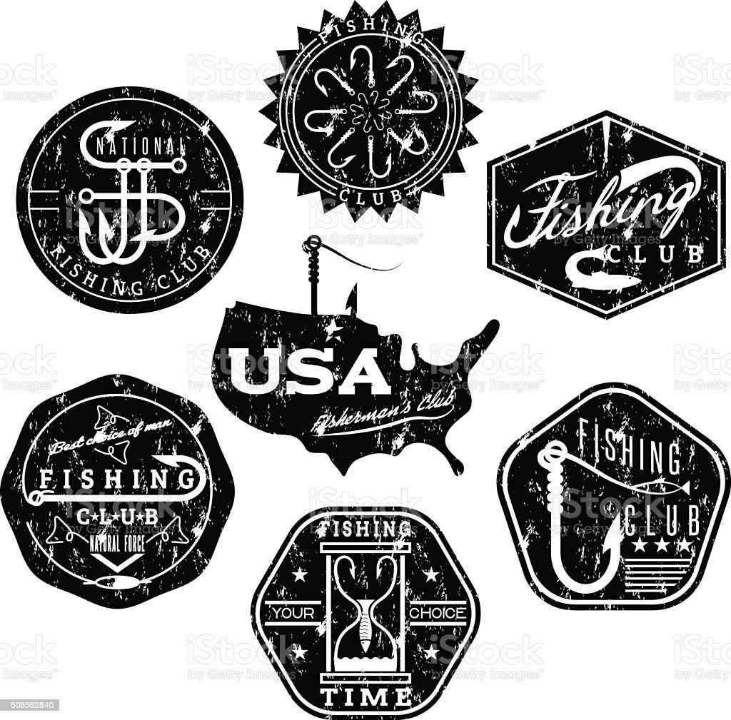 collection d'étiquettes de pêche vintage sur le thème grunge - Illustration vectorielle