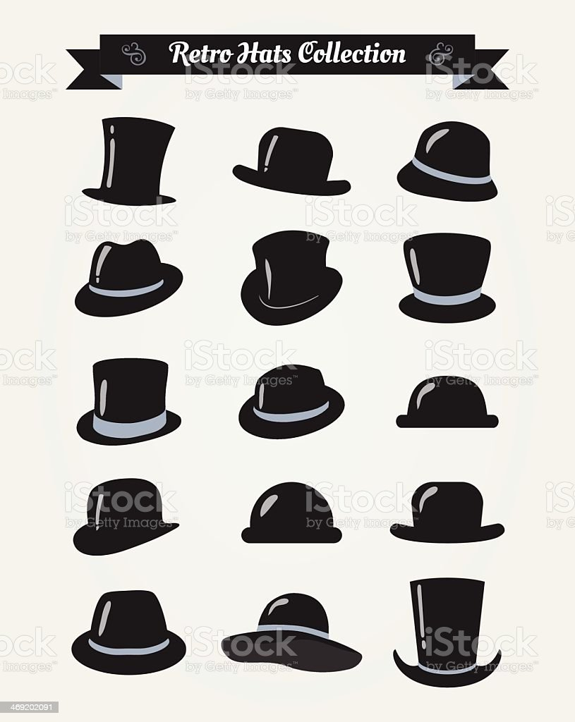 A collection of vintage hats in a retro filter vector art illustration