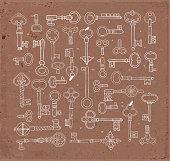 Collection of vintage keys on brown parcel paper background. Doodle sketch illustration.