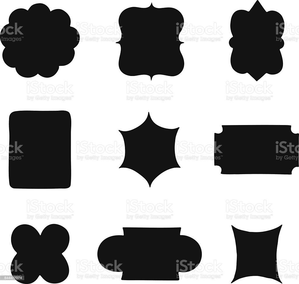 collection of vintage label shapes vector illustration