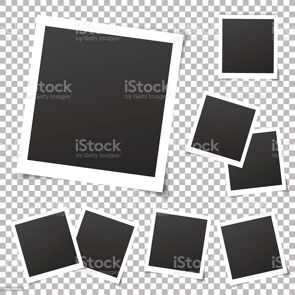Collection of vintage photo frames. Old photo frame, transparent shadow.