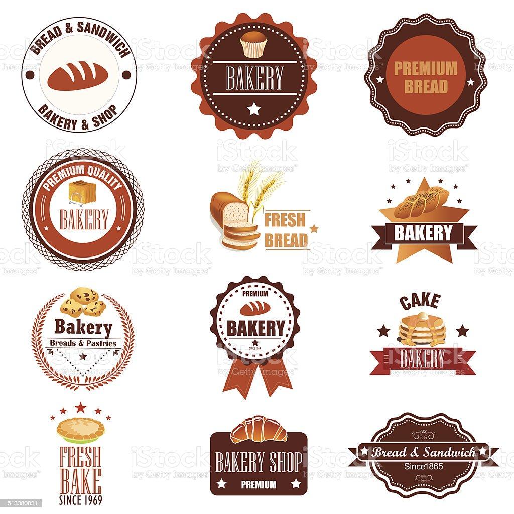 Sammlung von vintage retro Bäckerei logo Abzeichen und Etiketten.  Vecto – Vektorgrafik
