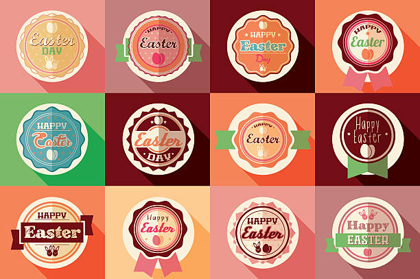 Collection of vintage retro Easter labels, stickers, badges and ribbons vector art illustration