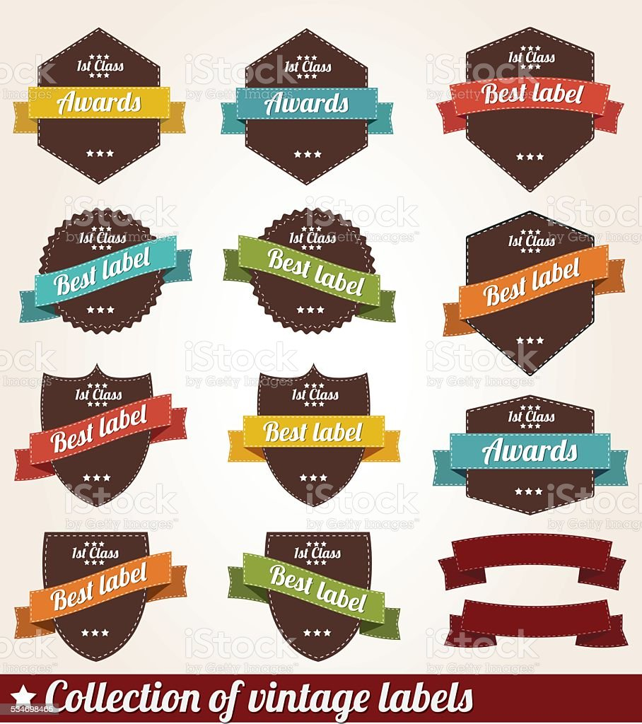 Collection of vintage retro labels, badges and stamps vector art illustration