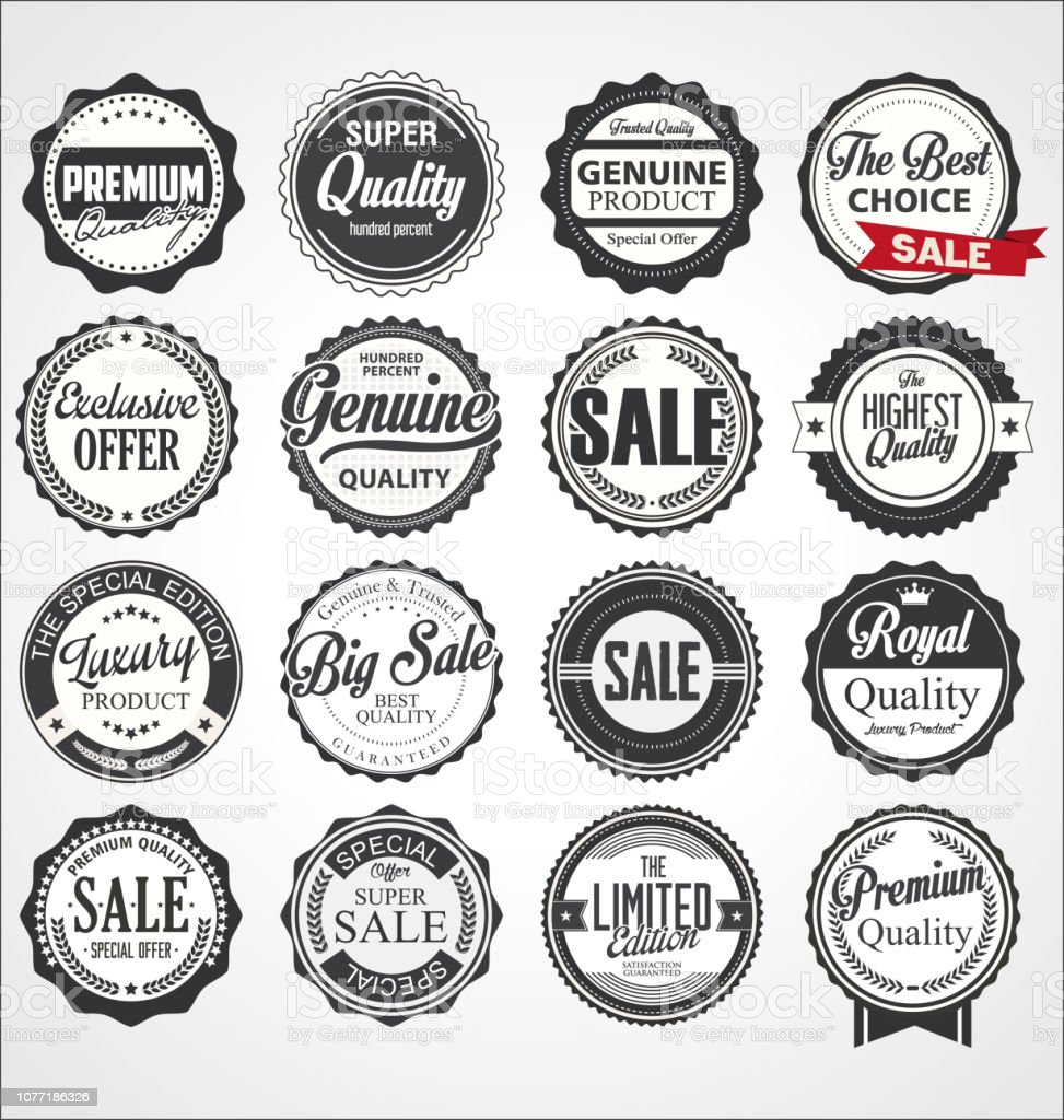 Collection of vintage retro premium quality badges and labels royalty-free collection of vintage retro premium quality badges and labels stock illustration - download image now