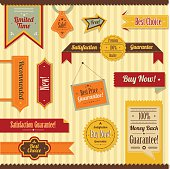 Collection of old-fashioned sale and discount elements - ribbons, frames, stickers, labels.