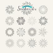 Collection of vintage sunburst design elements