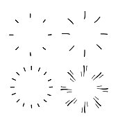 Collection of Vintage Sunburst Explosion with Handdrawn style Elements Fireworks Black Rays doodle