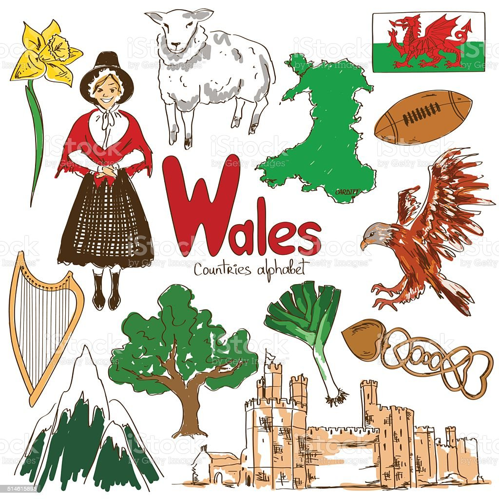 Collection of Wales icons vector art illustration