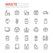 Collection of waste and garbage related line icons. 48x48 Pixel Perfect. Editable stroke