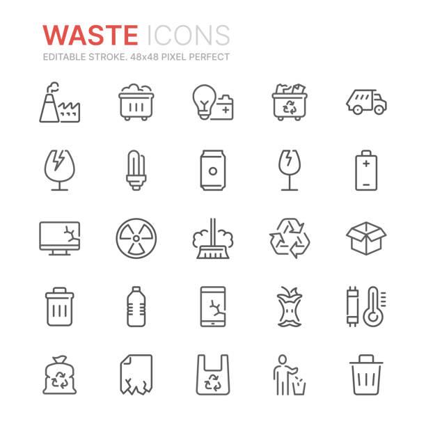 illustrations, cliparts, dessins animés et icônes de collecte des déchets et des déchets liés aux icônes de ligne. 48x48 pixel parfait. accident vasculaire cérébral modifiable - dechets