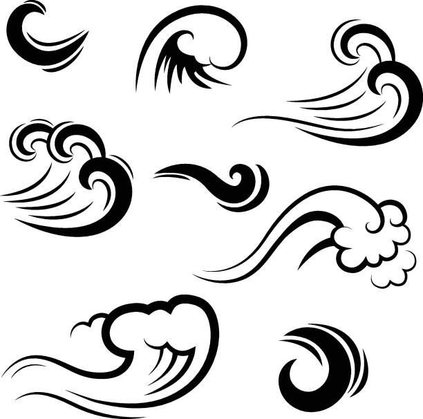 collection of water waves, vector silhouettes - wind stock illustrations