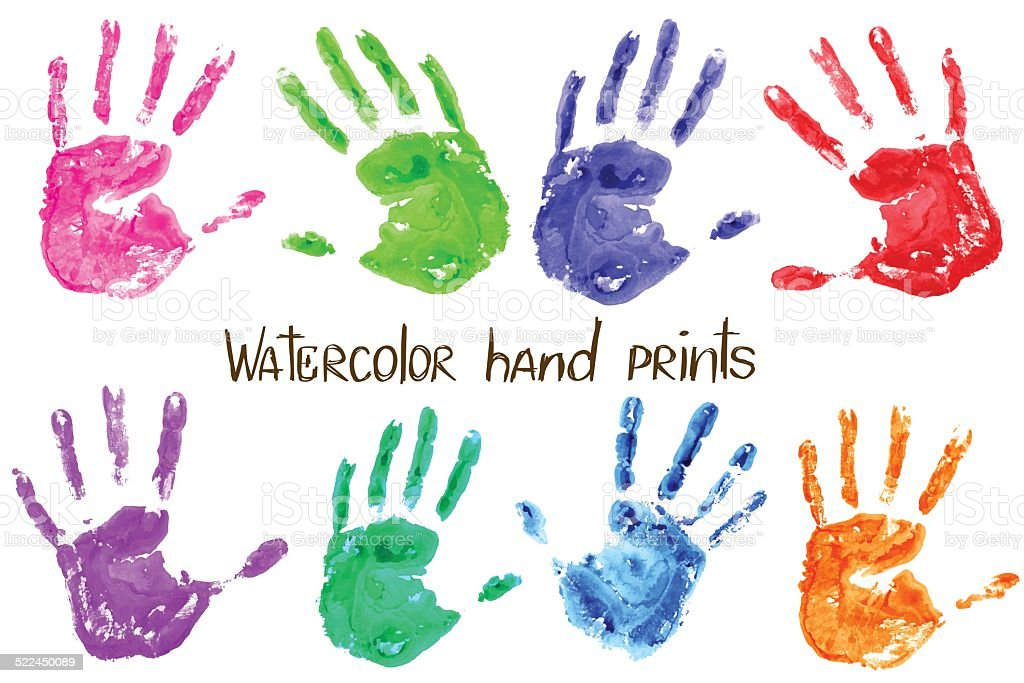 Collection of watercolor hand print vector art illustration