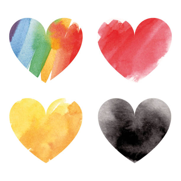 Collection of watercolor hearts vector art illustration