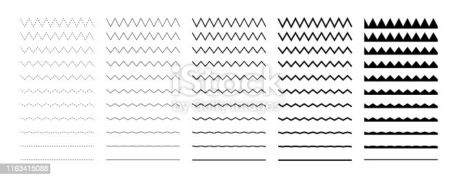 istock Collection of wavy or zigzag lines. Horizontal thin lines wave. Dotted line. Big set black color. Vector illustration. 1163415088