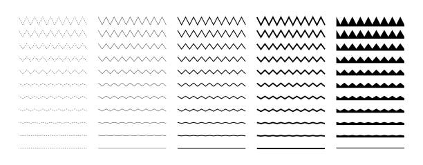 Collection of wavy or zigzag lines. Horizontal thin lines wave. Dotted line. Big set black color. Vector illustration. Collection of wavy or zigzag lines. Horizontal thin lines wave. Dotted line. Big set black color. Vector illustration zigzag stock illustrations