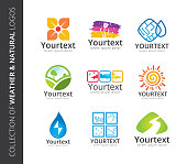 Collection of weather & natural icons. icon set of nature and environment. Vector icon template