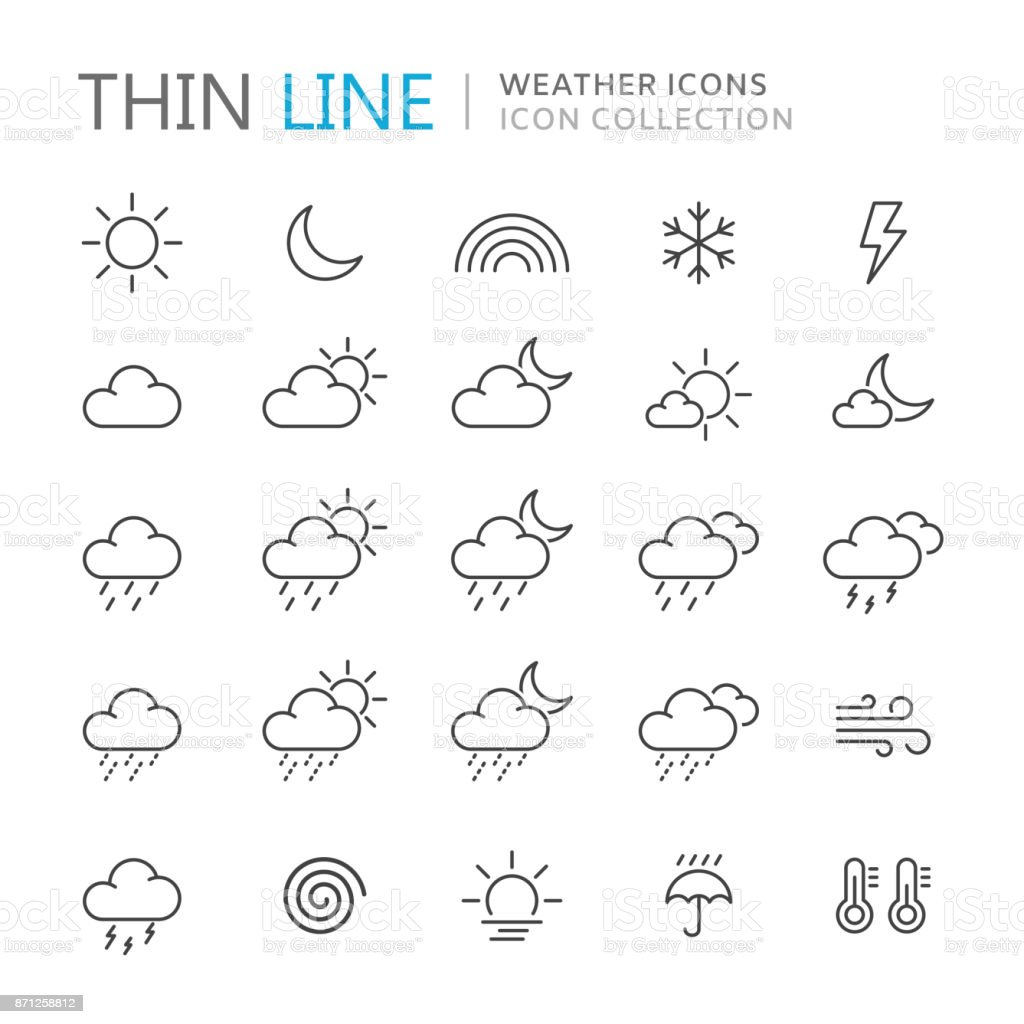 Collection of weather thin line icons.