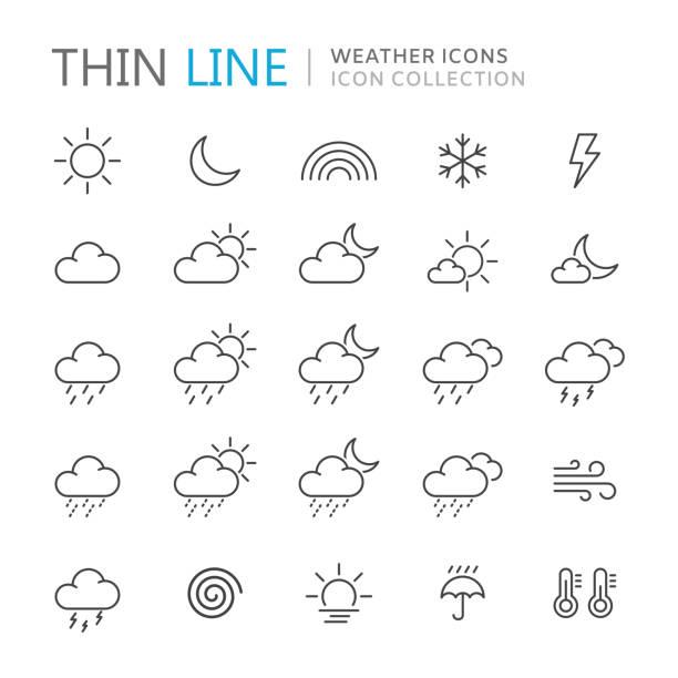 stockillustraties, clipart, cartoons en iconen met collectie van dunne lijn weerpictogrammen. - regen zon